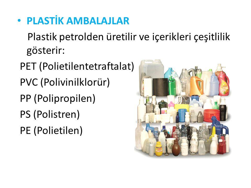 PLASTİK AMBALAJLAR Plastik petrolden üretilir ve içerikleri çeşitlilik gösterir: PET (Polietilentetraftalat)