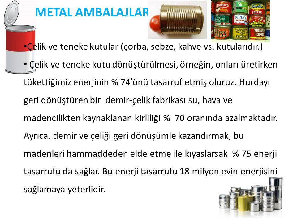 METAL AMBALAJLAR Çelik ve teneke kutular (çorba, sebze, kahve vs. kutularıdır.)