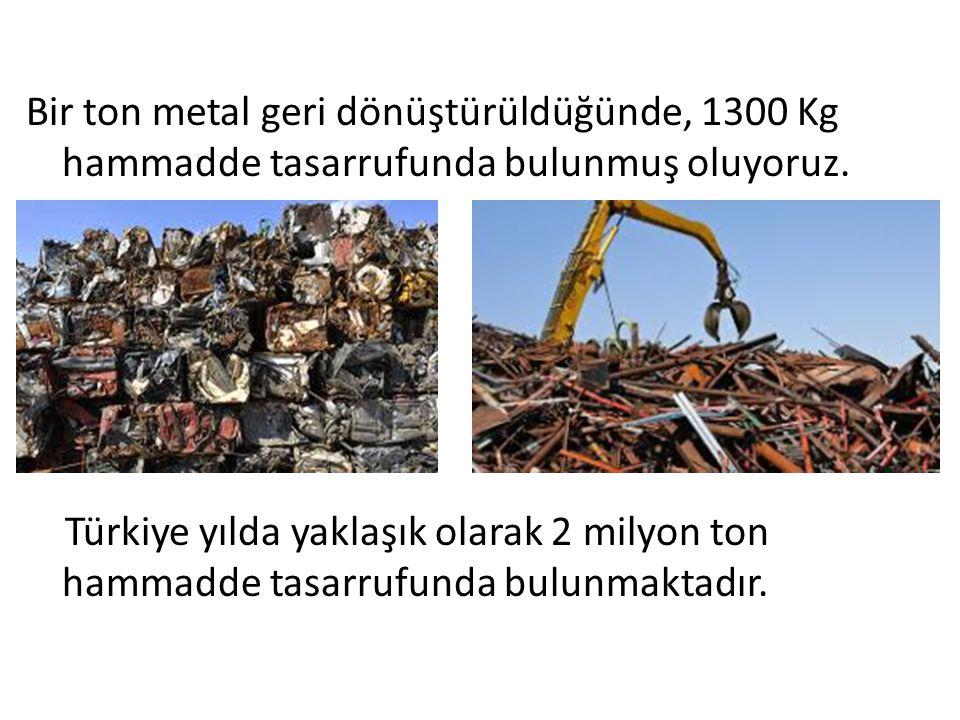 Bir ton metal geri dönüştürüldüğünde, 1300 Kg hammadde tasarrufunda bulunmuş oluyoruz.