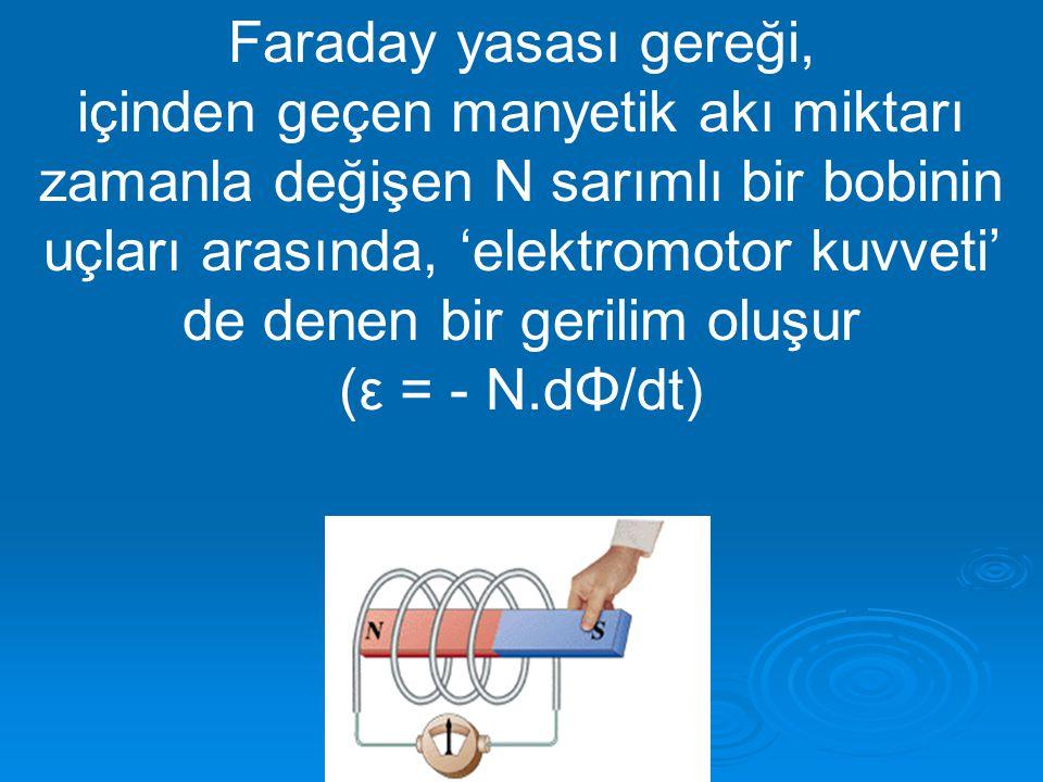 Faraday yasası gereği,