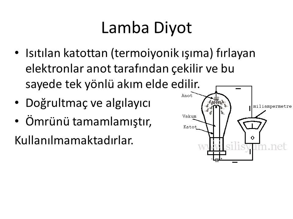Lamba Diyot Isıtılan katottan (termoiyonik ışıma) fırlayan elektronlar anot tarafından çekilir ve bu sayede tek yönlü akım elde edilir.
