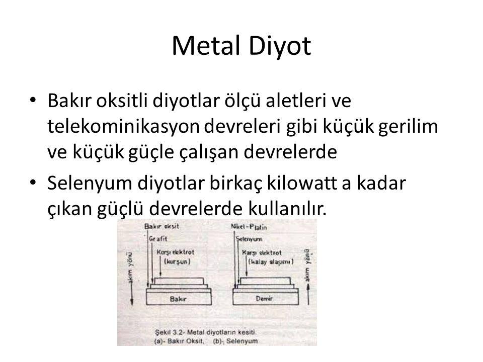 Metal Diyot Bakır oksitli diyotlar ölçü aletleri ve telekominikasyon devreleri gibi küçük gerilim ve küçük güçle çalışan devrelerde.