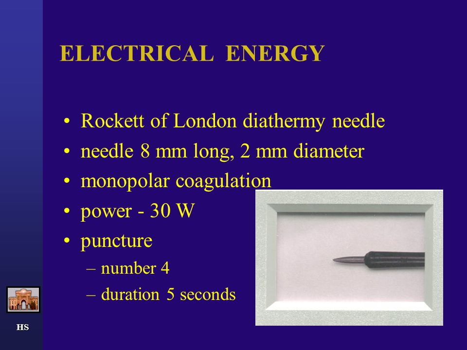 ELECTRICAL ENERGY Rockett of London diathermy needle