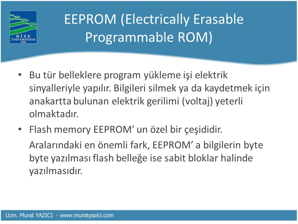 EEPROM (Electrically Erasable Programmable ROM)
