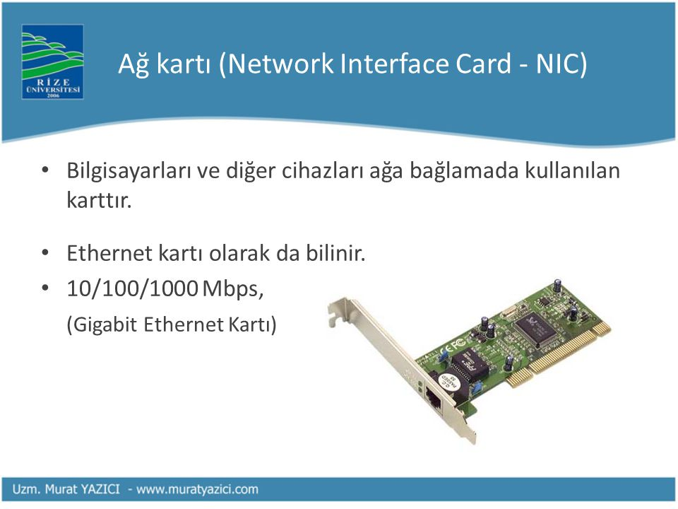 Ağ kartı (Network Interface Card - NIC)