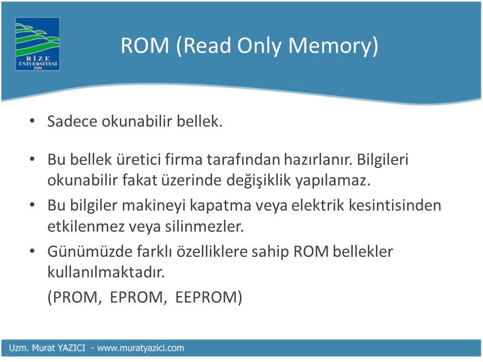 ROM (Read Only Memory) Sadece okunabilir bellek.