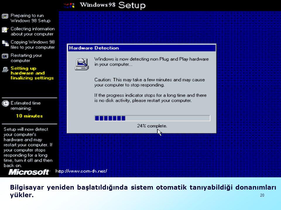 Bilgisayar yeniden başlatıldığında sistem otomatik tanıyabildiği donanımları yükler.