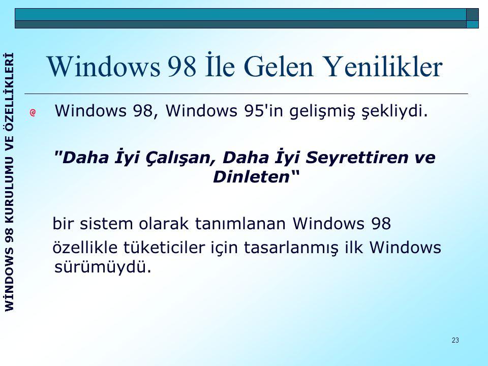 Windows 98 İle Gelen Yenilikler