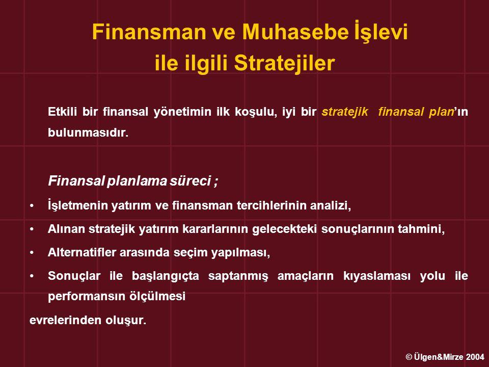 Finansman ve Muhasebe İşlevi ile ilgili Stratejiler