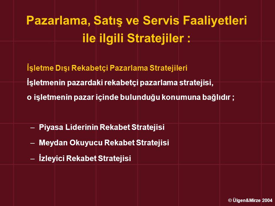 Pazarlama, Satış ve Servis Faaliyetleri ile ilgili Stratejiler :