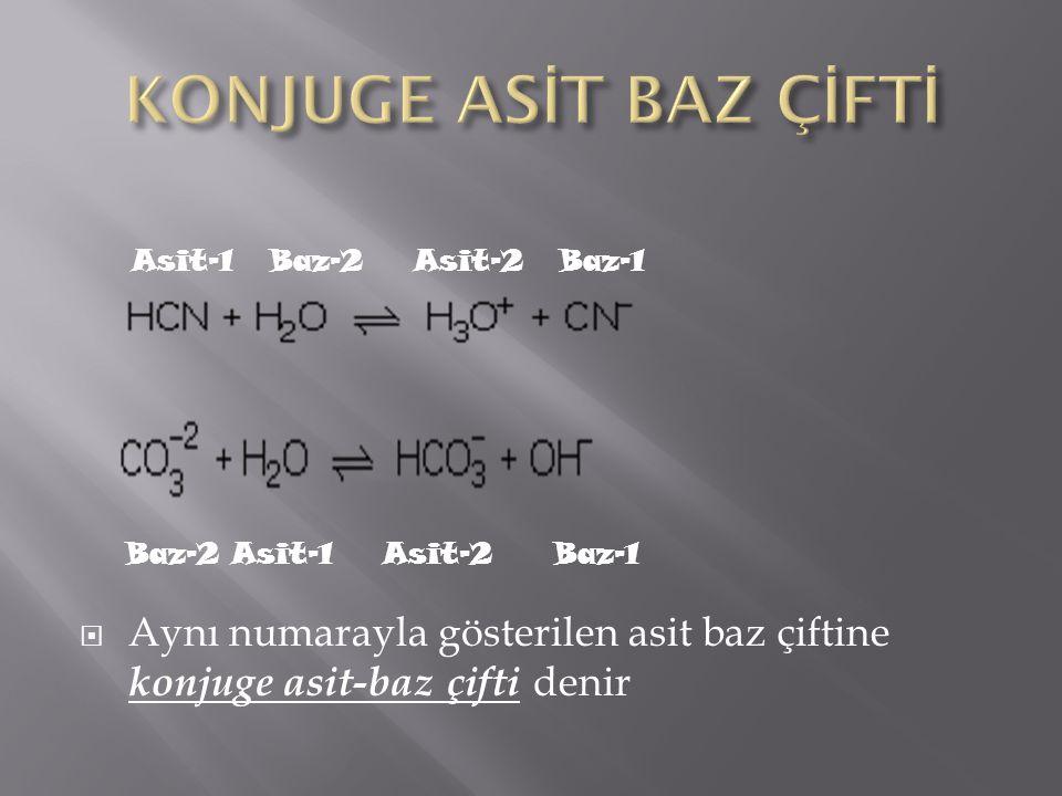 KONJUGE ASİT BAZ ÇİFTİ Aynı numarayla gösterilen asit baz çiftine konjuge asit-baz çifti denir. Asit-1 Baz-2 Asit-2 Baz-1.