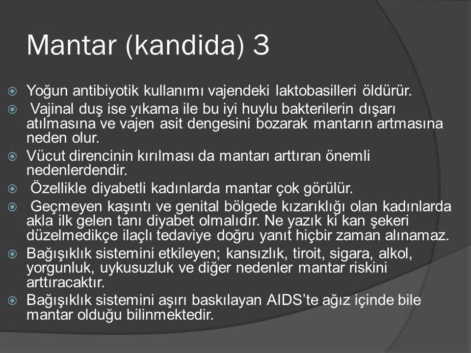 Mantar (kandida) 3 Yoğun antibiyotik kullanımı vajendeki laktobasilleri öldürür.