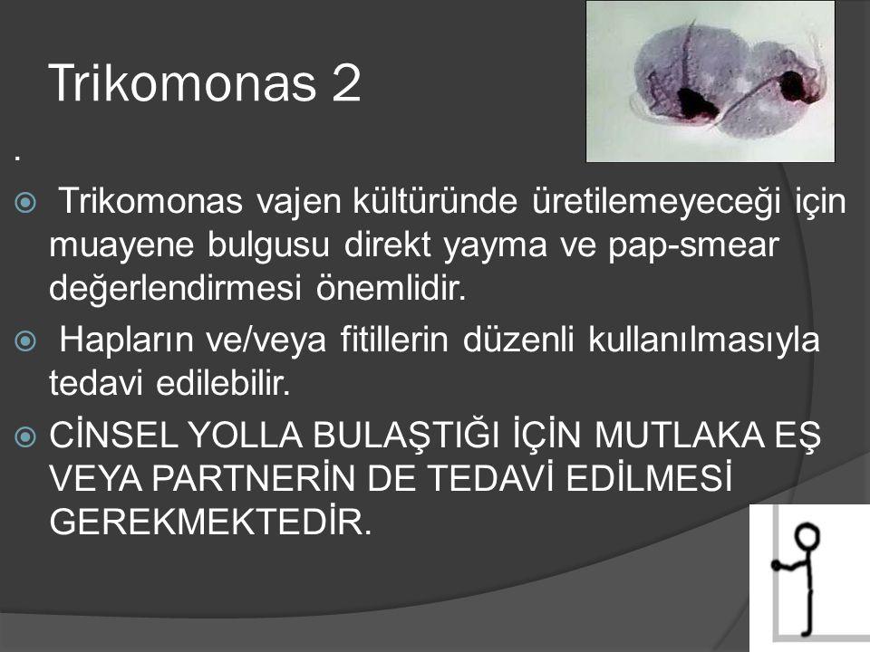 Trikomonas 2 . Trikomonas vajen kültüründe üretilemeyeceği için muayene bulgusu direkt yayma ve pap-smear değerlendirmesi önemlidir.