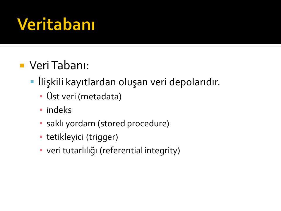 Veritabanı Veri Tabanı: İlişkili kayıtlardan oluşan veri depolarıdır.