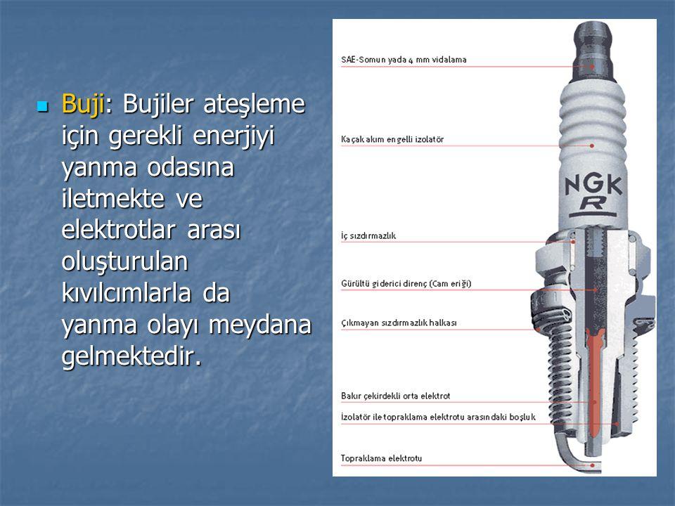 Buji: Bujiler ateşleme için gerekli enerjiyi yanma odasına iletmekte ve elektrotlar arası oluşturulan kıvılcımlarla da yanma olayı meydana gelmektedir.