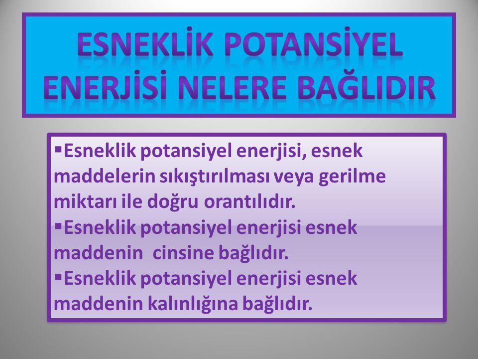 ESNEKLİK POTANSİYEL ENERJİSİ NELERE BAĞLIDIR