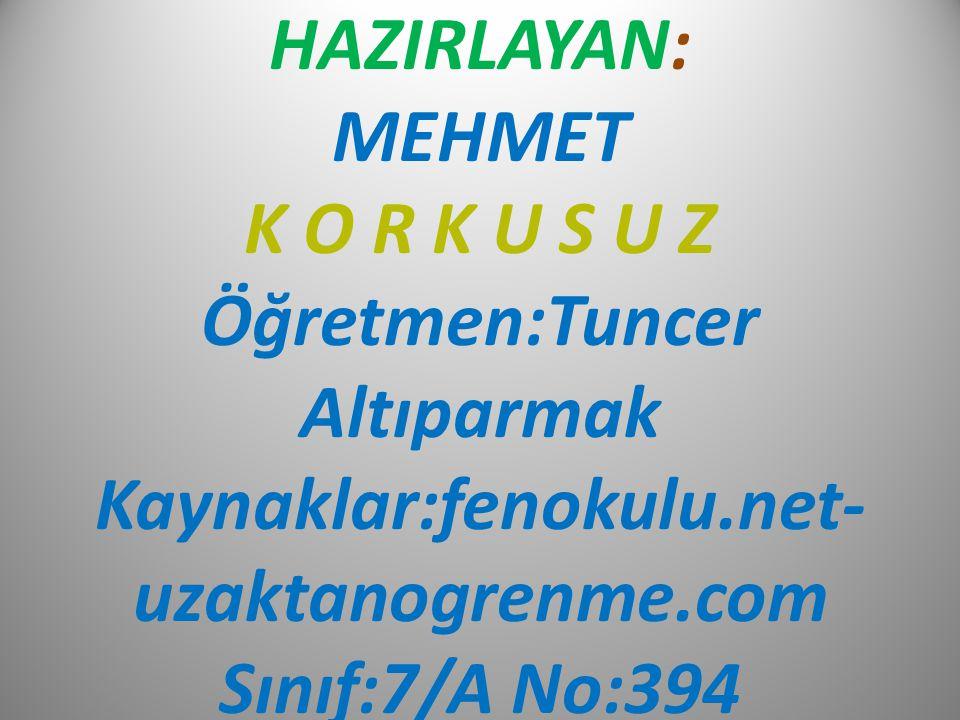 HAZIRLAYAN: MEHMET K O R K U S U Z Öğretmen:Tuncer Altıparmak Kaynaklar:fenokulu.net-uzaktanogrenme.com Sınıf:7/A No:394