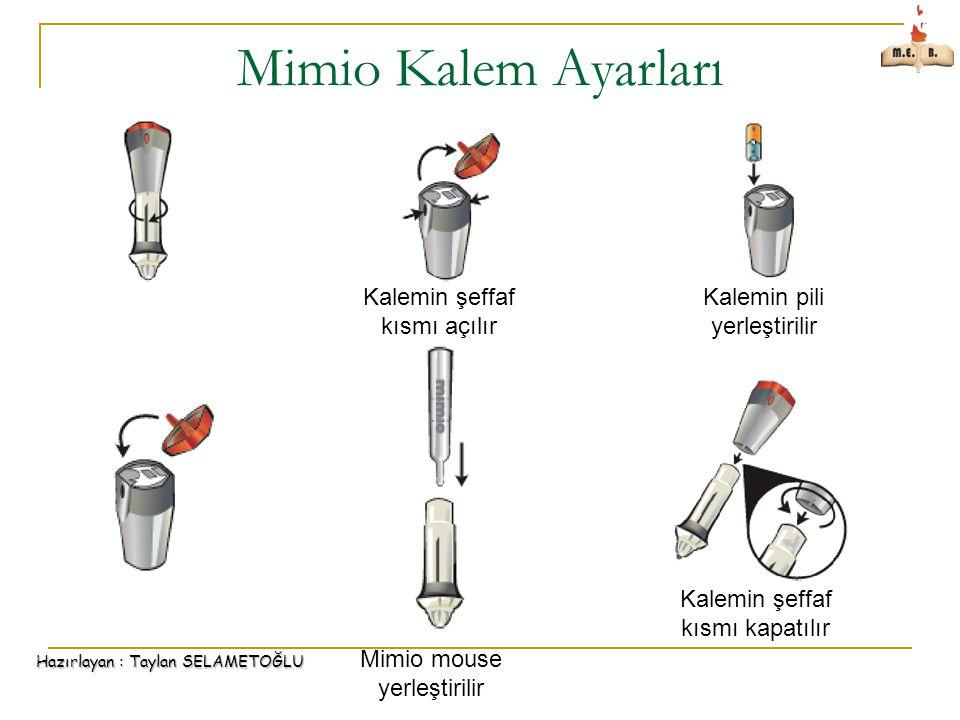 Mimio Kalem Ayarları Kalemin şeffaf kısmı açılır