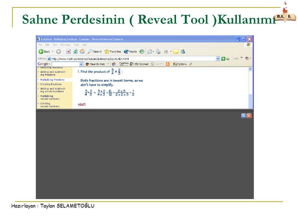 Sahne Perdesinin ( Reveal Tool )Kullanımı