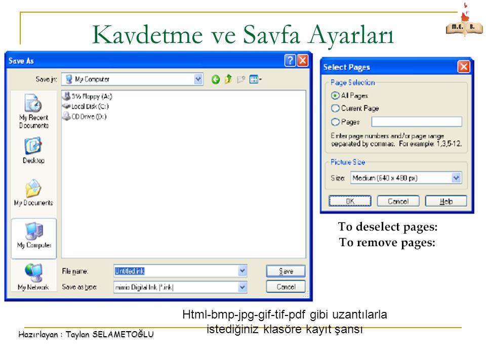 Kaydetme ve Sayfa Ayarları