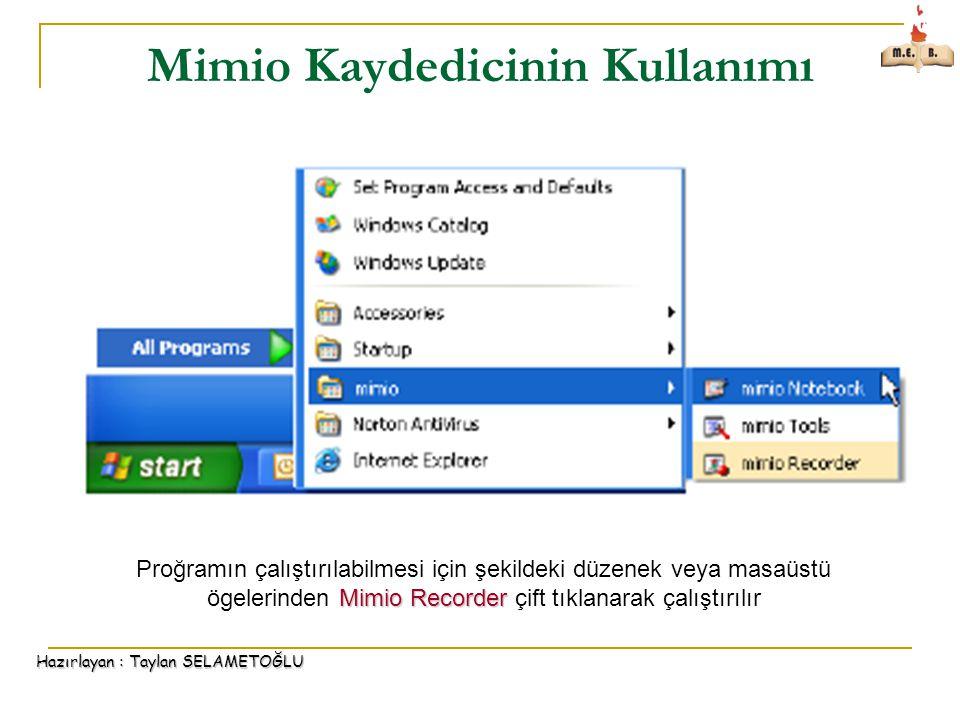 Mimio Kaydedicinin Kullanımı