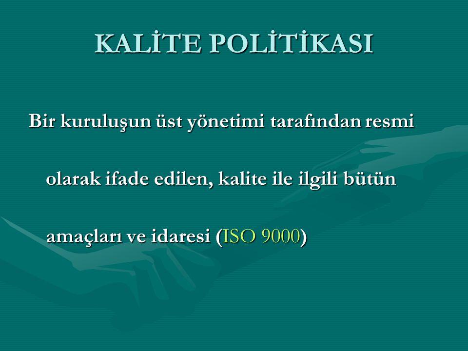 KALİTE POLİTİKASI Bir kuruluşun üst yönetimi tarafından resmi olarak ifade edilen, kalite ile ilgili bütün amaçları ve idaresi (ISO 9000)