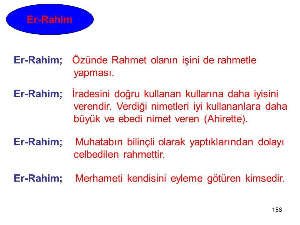 Er-Rahim Er-Rahim; Özünde Rahmet olanın işini de rahmetle yapması. Er-Rahim; İradesini doğru kullanan kullarına daha iyisini.