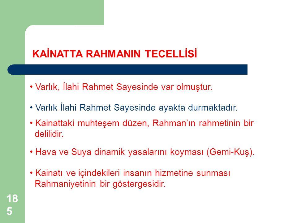 KAİNATTA RAHMANIN TECELLİSİ