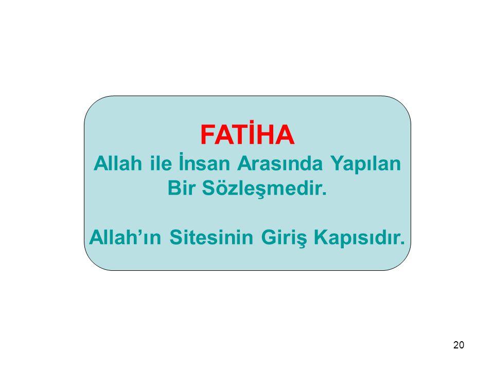 Allah ile İnsan Arasında Yapılan Allah'ın Sitesinin Giriş Kapısıdır.
