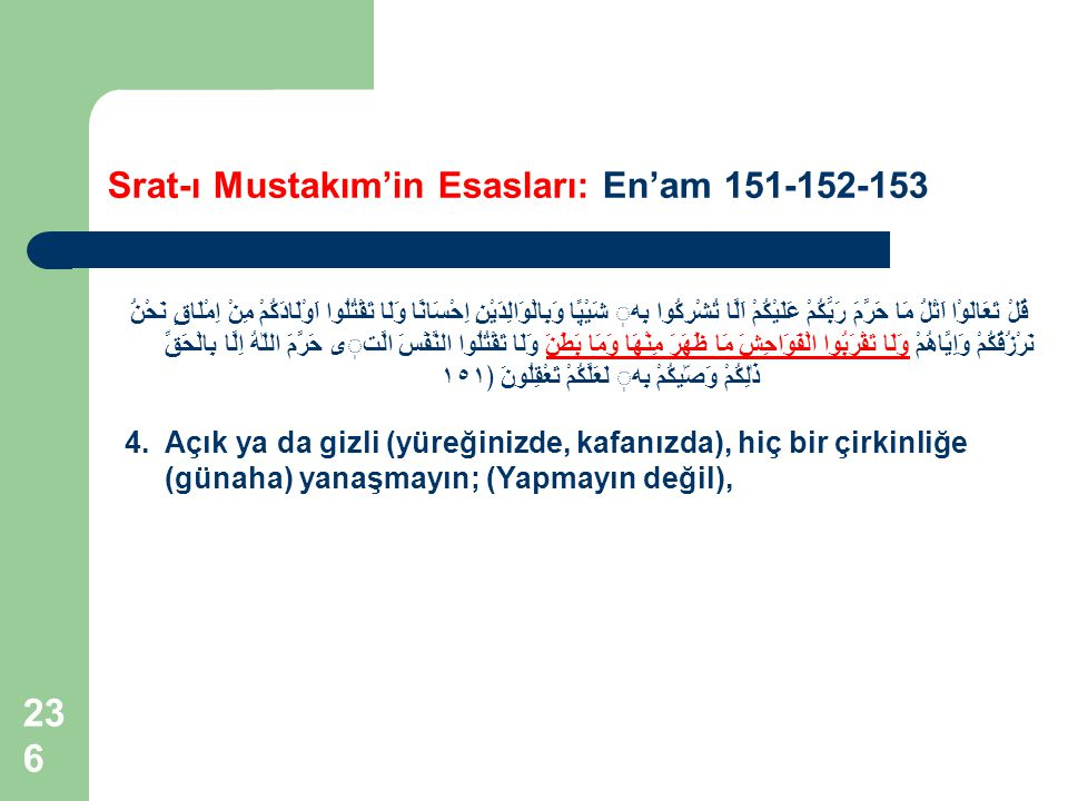 Srat-ı Mustakım'in Esasları: En'am 151-152-153