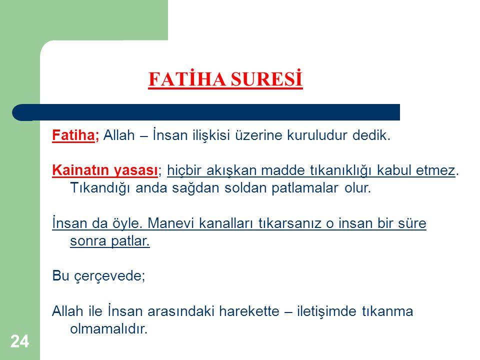 FATİHA SURESİ Fatiha; Allah – İnsan ilişkisi üzerine kuruludur dedik.
