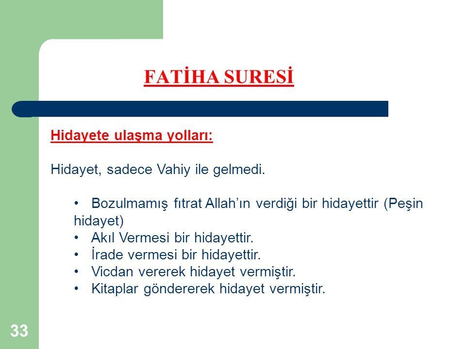 FATİHA SURESİ Hidayete ulaşma yolları:
