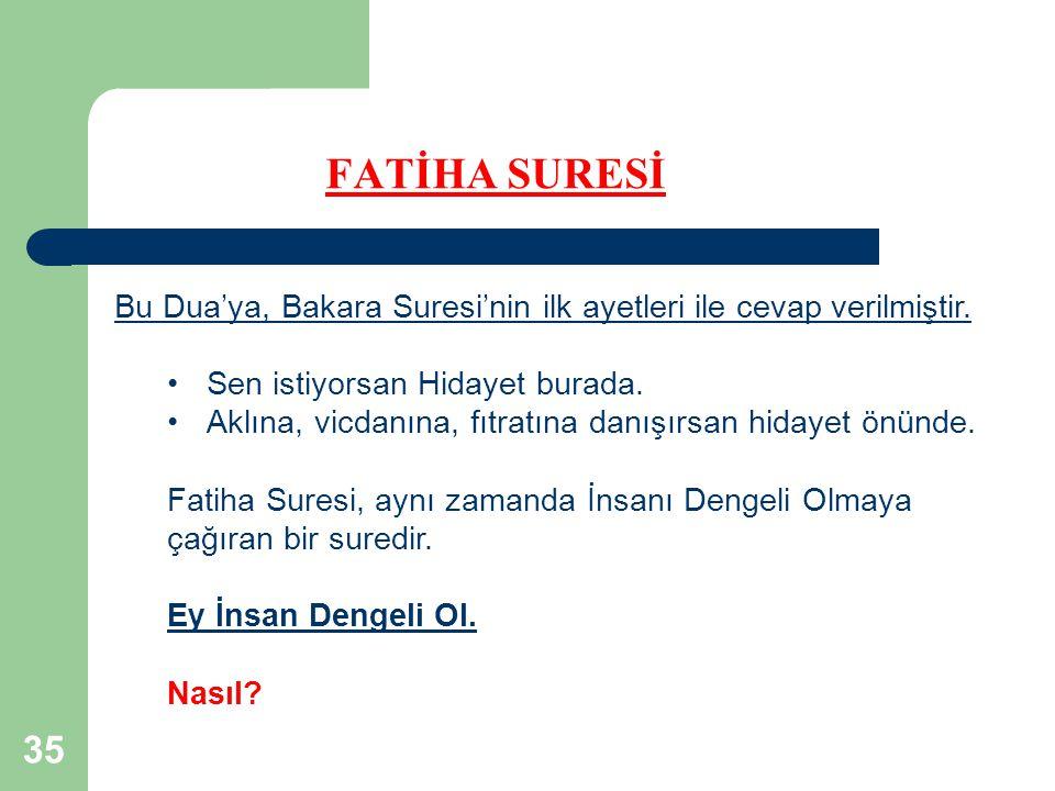 FATİHA SURESİ Bu Dua'ya, Bakara Suresi'nin ilk ayetleri ile cevap verilmiştir. Sen istiyorsan Hidayet burada.