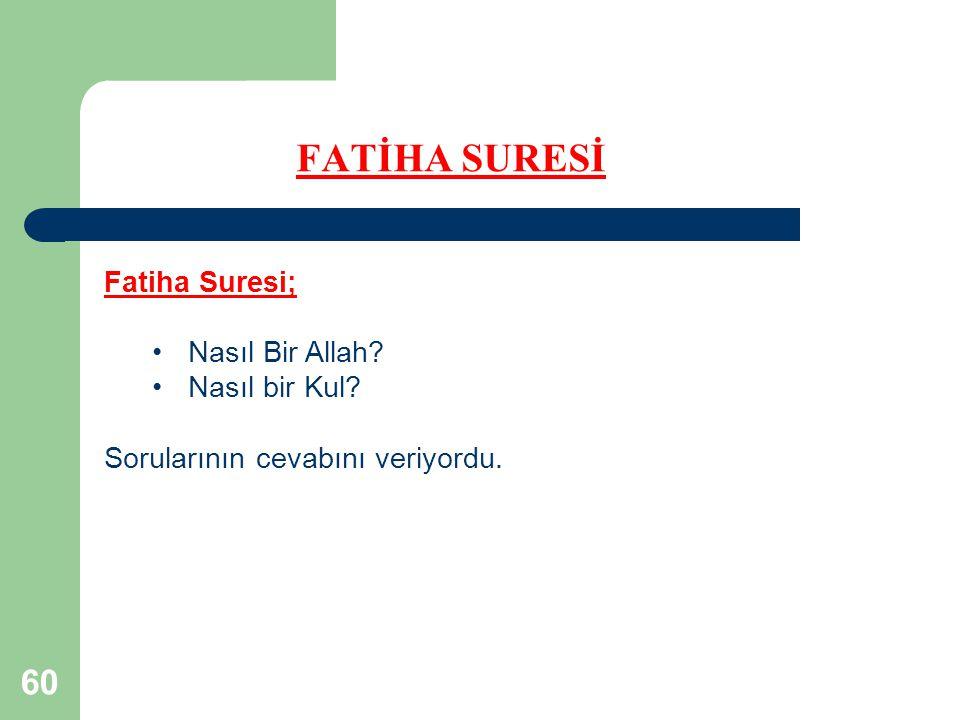 FATİHA SURESİ Fatiha Suresi; Nasıl Bir Allah Nasıl bir Kul