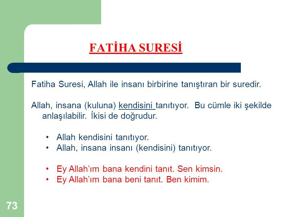 FATİHA SURESİ Fatiha Suresi, Allah ile insanı birbirine tanıştıran bir suredir.