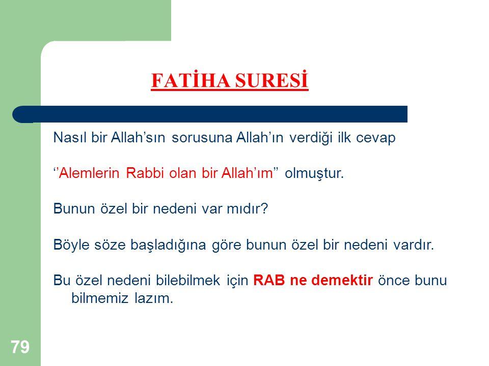FATİHA SURESİ Nasıl bir Allah'sın sorusuna Allah'ın verdiği ilk cevap