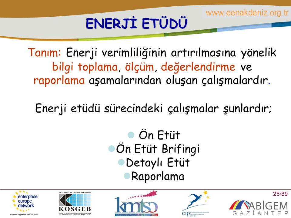 Enerji etüdü sürecindeki çalışmalar şunlardır;