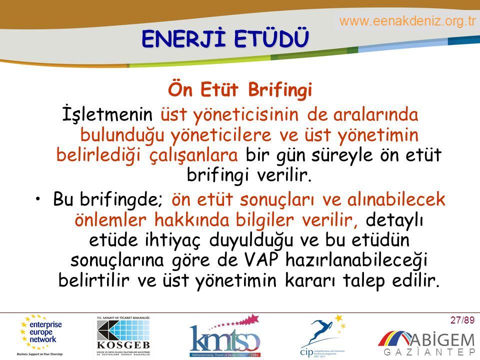 ENERJİ ETÜDÜ Ön Etüt Brifingi