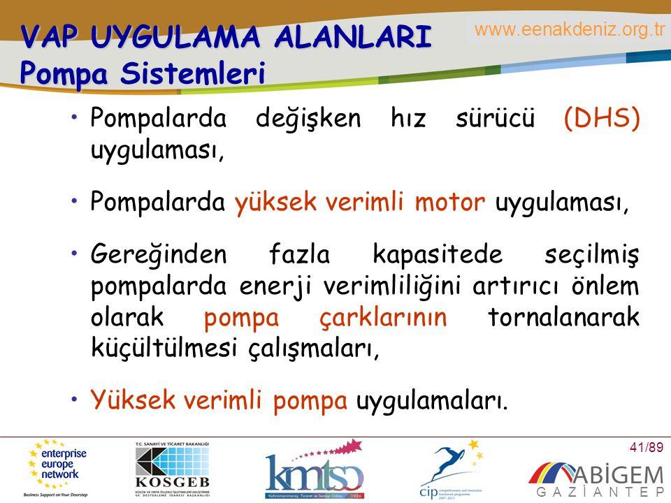 VAP UYGULAMA ALANLARI Pompa Sistemleri