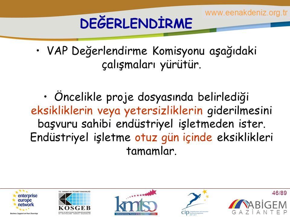 VAP Değerlendirme Komisyonu aşağıdaki çalışmaları yürütür.