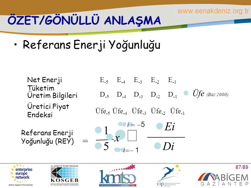 å 5 1 Di Ei x ÖZET/GÖNÜLLÜ ANLAŞMA Referans Enerji Yoğunluğu =