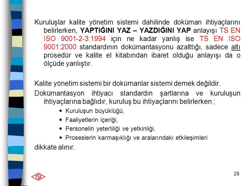 Kalite yönetim sistemi bir dokümanlar sistemi demek değildir.