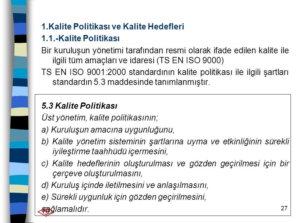 1.Kalite Politikası ve Kalite Hedefleri
