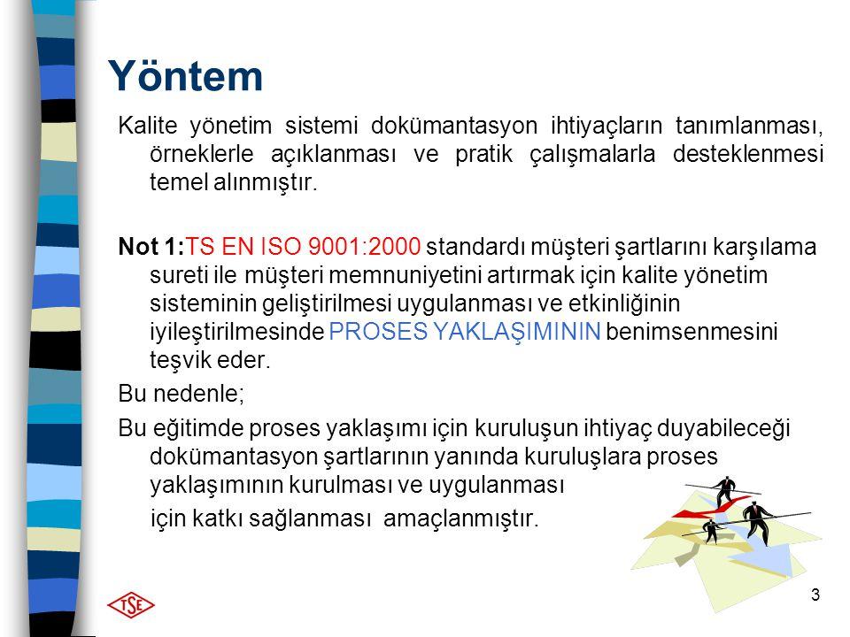 Yöntem Kalite yönetim sistemi dokümantasyon ihtiyaçların tanımlanması, örneklerle açıklanması ve pratik çalışmalarla desteklenmesi temel alınmıştır.