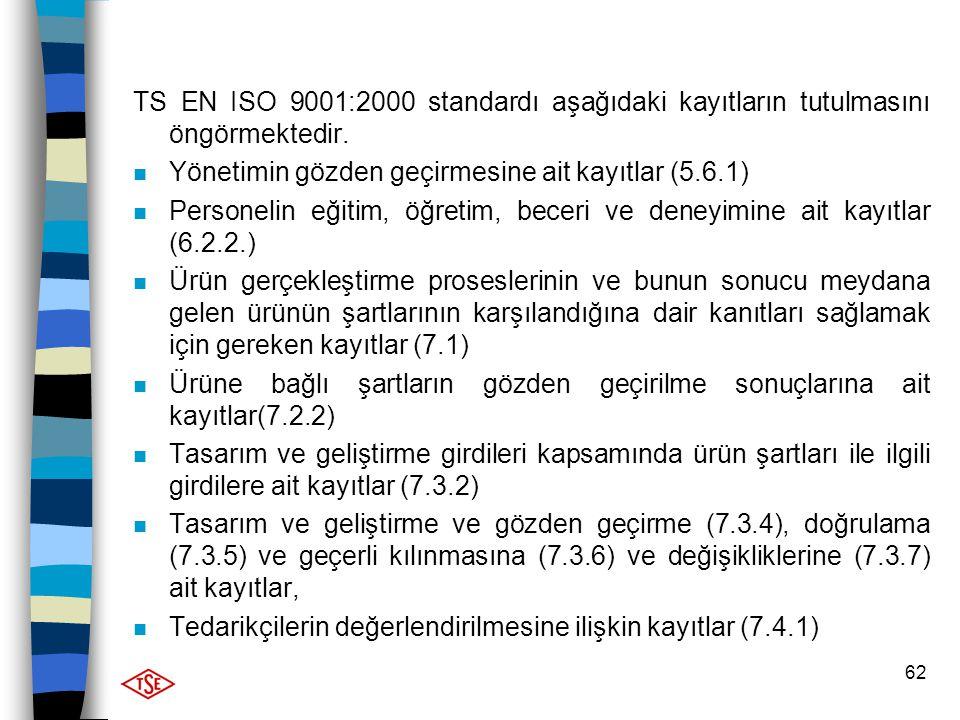 TS EN ISO 9001:2000 standardı aşağıdaki kayıtların tutulmasını öngörmektedir.