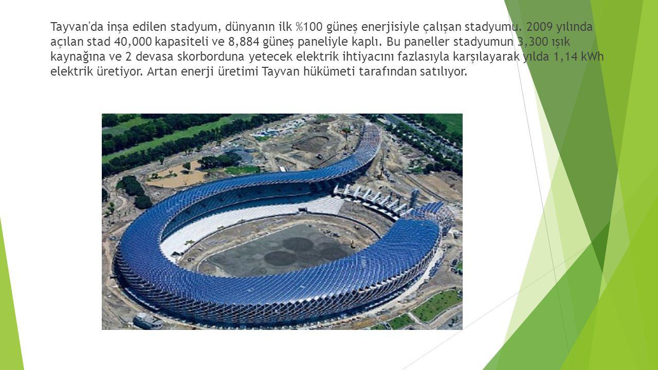 Tayvan da inşa edilen stadyum, dünyanın ilk %100 güneş enerjisiyle çalışan stadyumu.