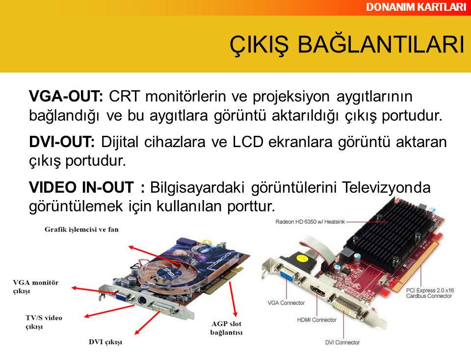 ÇIKIŞ BAĞLANTILARI VGA-OUT: CRT monitörlerin ve projeksiyon aygıtlarının bağlandığı ve bu aygıtlara görüntü aktarıldığı çıkış portudur.