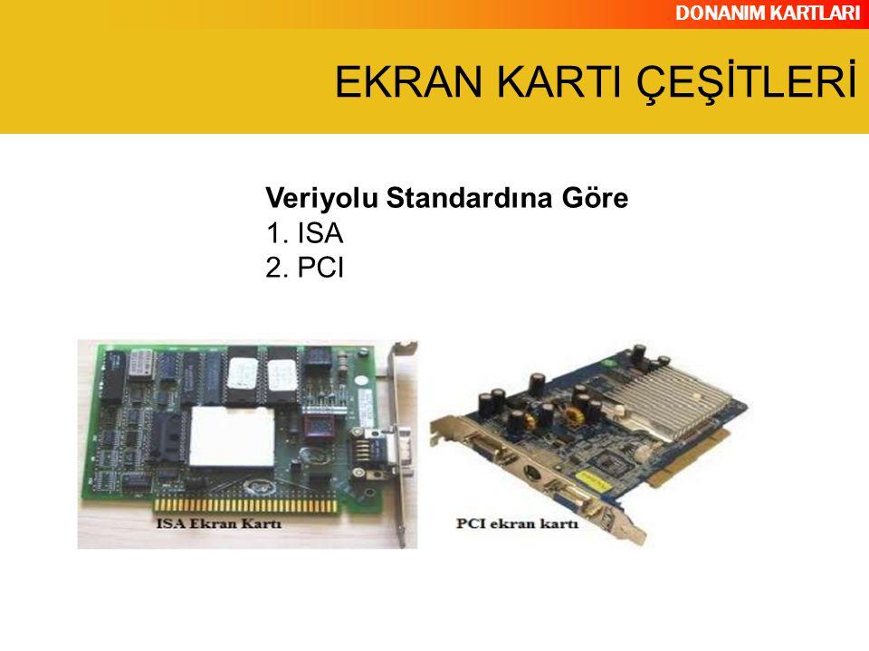 EKRAN KARTI ÇEŞİTLERİ Veriyolu Standardına Göre 1. ISA 2. PCI
