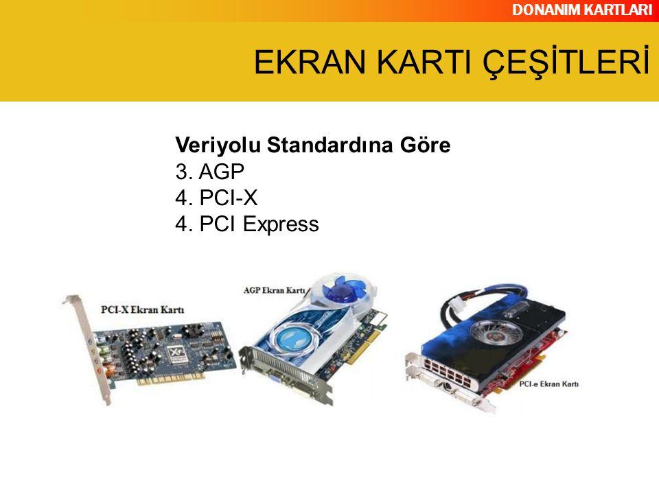 EKRAN KARTI ÇEŞİTLERİ Veriyolu Standardına Göre 3. AGP 4. PCI-X