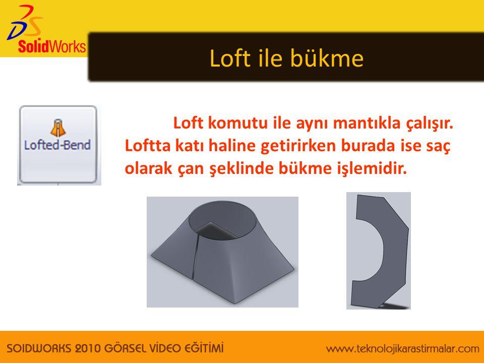 Loft ile bükme Loft komutu ile aynı mantıkla çalışır.